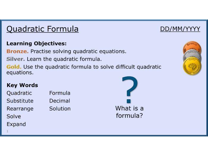 Algebra 23/31 Quadratic Formula