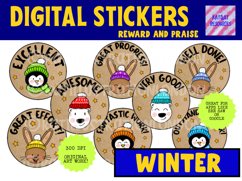 Cute Winter Animal Digital Stickers For See Saw and Google Classroom