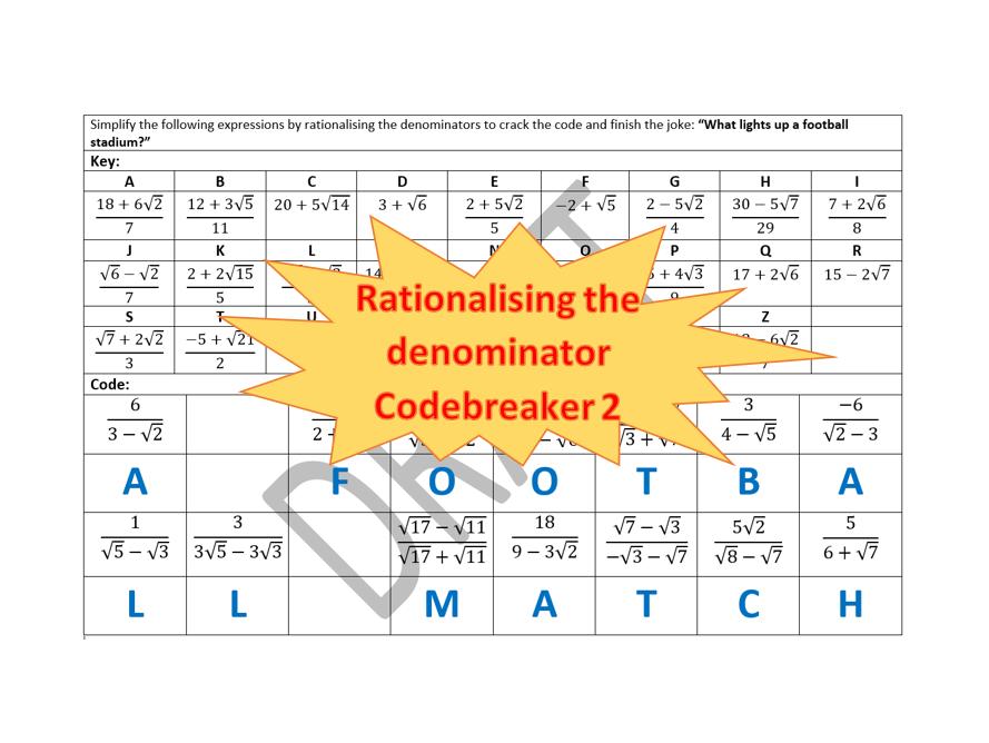 Surds - Rationalising the Denominator Codebreaker 2