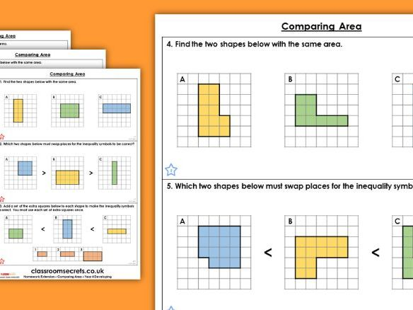 Year 4 Comparing Area Spring Block 2 Maths Homework Extension