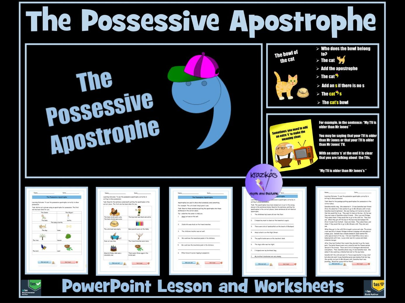 The Possessive Apostrophe / Apostrophe for Possession Bundle: PowerPoint Lesson and Worksheets