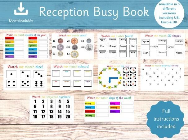 Reception Binder - Busy Book - Starting School - Home Schooling - Learning Sheets
