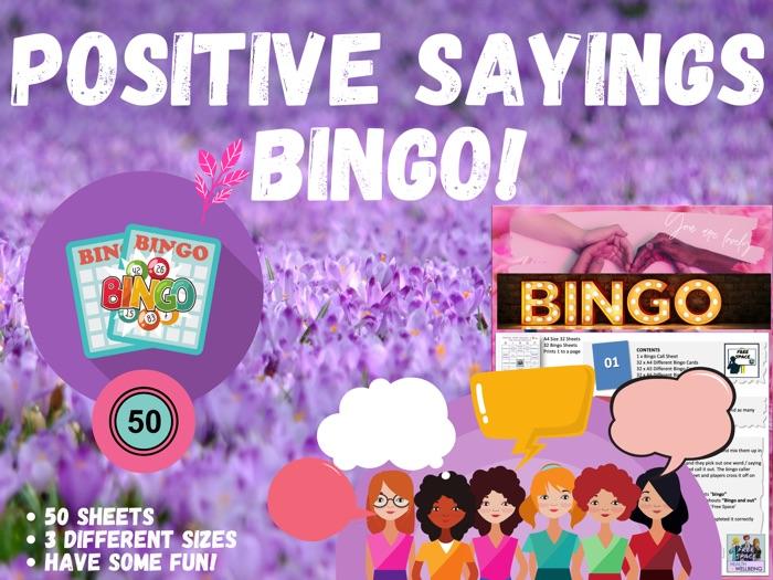 Digital Positive Sayings Wellbeing Bingo