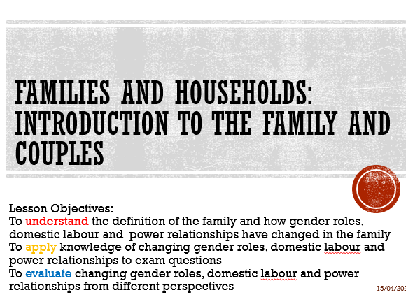 AQA Sociology Families & Households:  Introduction to the Family and Couples A Level