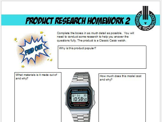 D&T Product Research Homework Sheets for KS3 and KS4