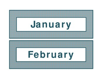 Calendar headings teal diamonds in English