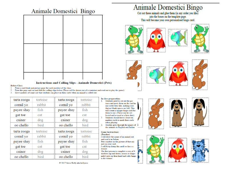 Italian - Animale Domestici  (Pets) Bingo - Stage 4 - Mandatory Languages