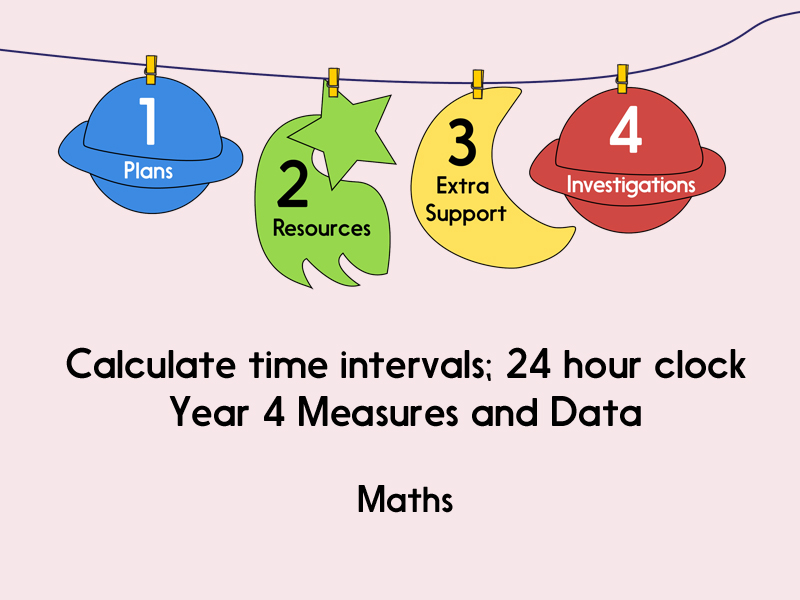 Calculate time intervals; 24 hour clock (Year 4 Measures and Data)