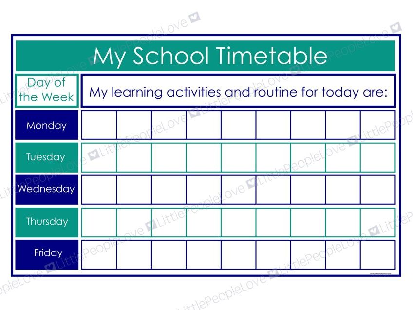 My School Timetable (Blue/Teal)