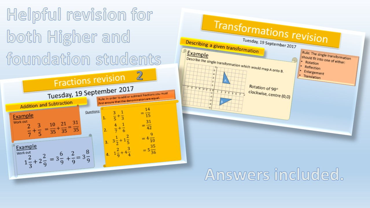 GCSE Revision lessons