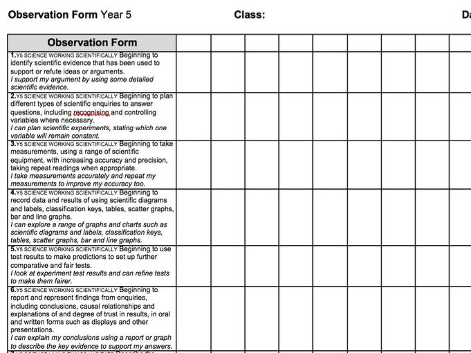 Year 5 2014 National Curriculum Science Assessment recording grid