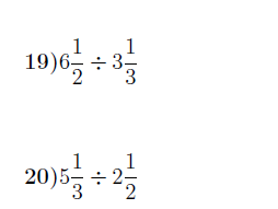 Dividing fractions and mixed numbers  worksheet (with solutions)