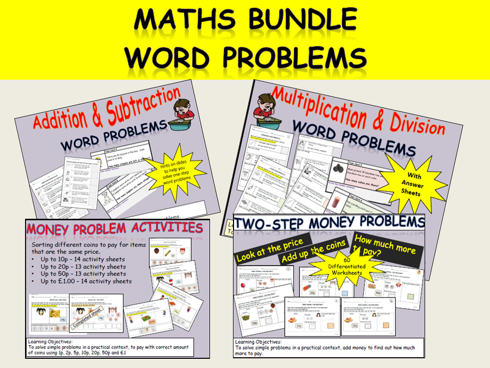 Add, Subtract, Multiply, Division Maths Word Problem Bundle