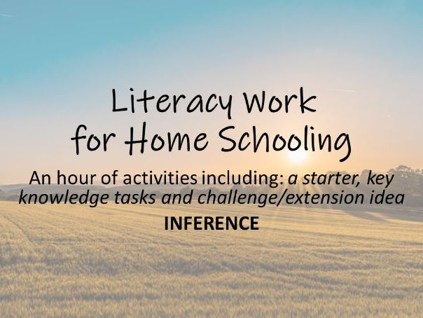 Home learning literacy activities: Inference