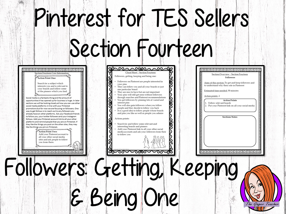 Pinterest for TES Sellers – Section Fourteen: Followers – Getting, Keeping and Being One
