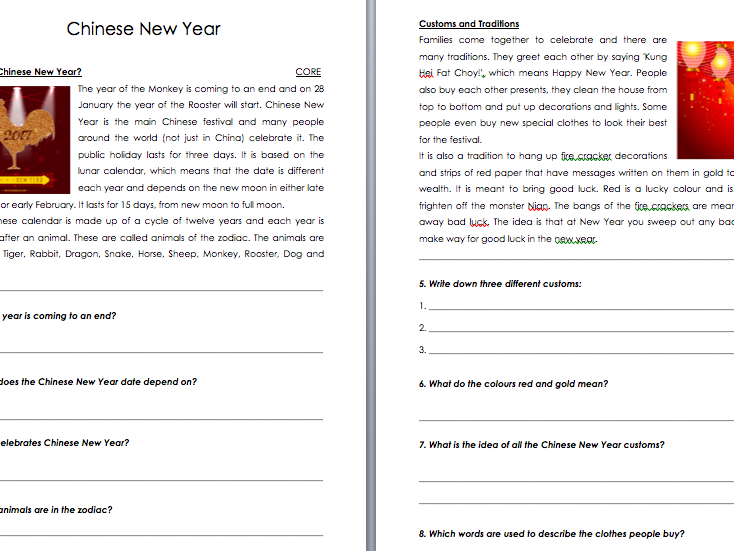 Chinese New Year Differentiated Comprehension - Gung Hay Fat Choy Comprehension