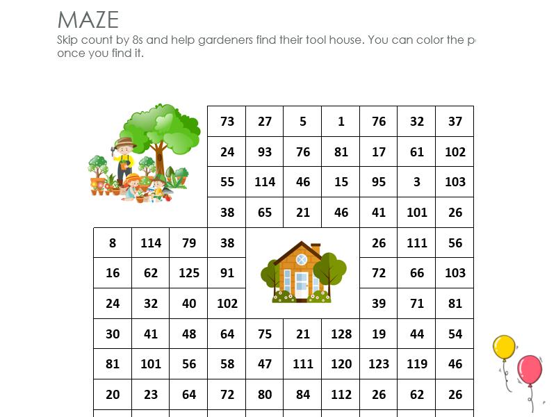Gardeners maze: skip count by 8