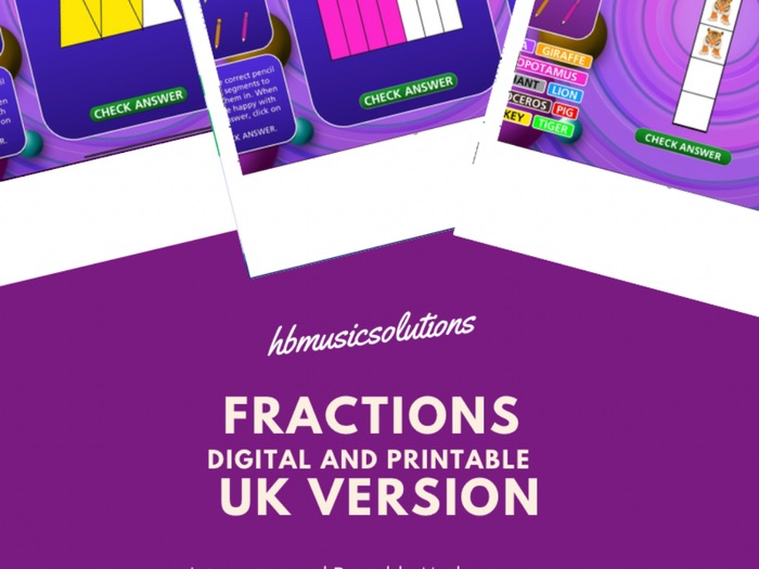 Fractions UK Version Digital Interactive and Printable Maths Resource
