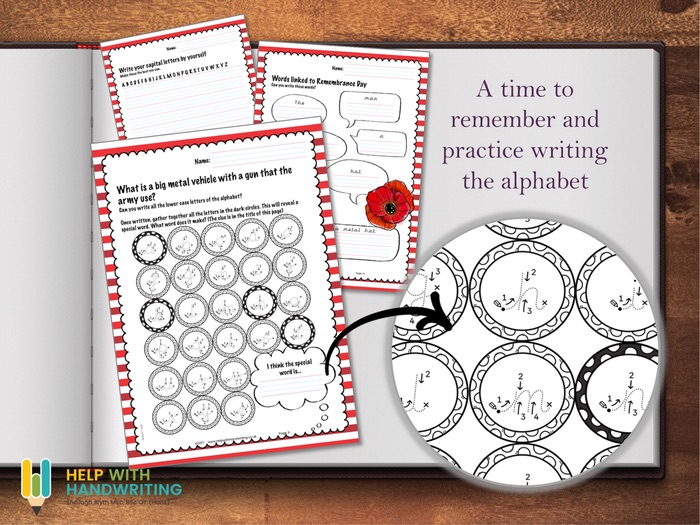 Remembrance Alphabet Worksheets