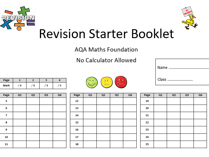 Year 10 \ Year 11 AQA style Foundation Starter Booklet - 25 Lessons