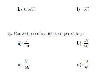 Converting between percentages, fractions and decimals  worksheet (with solutions)