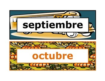 Calendar headings seasonal in Spanish