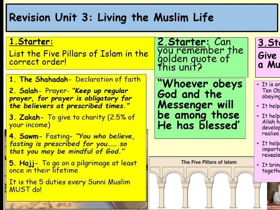 Edexcel RE Unit 3: Living the Muslim life; Revision Powerpoint!