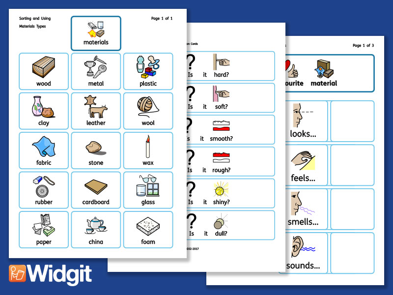 Sorting and Using Materials - Science Pack with Widgit Symbols