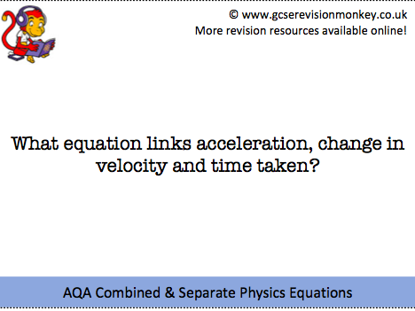 Revision Cards - Physics Equations
