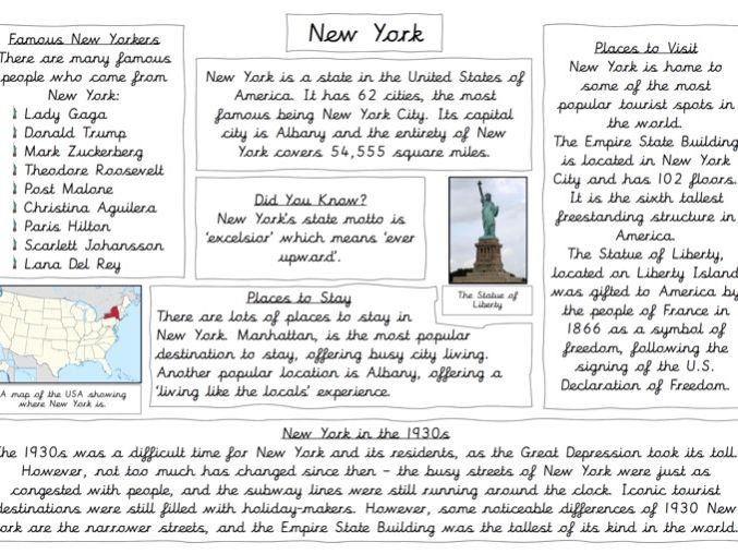 Non-Chronological Report on New York (KS2)
