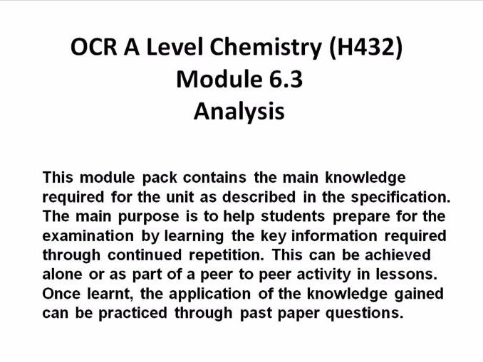 Ocr a level chemistry h432 complete module 6 knowledge pack by ocr a level chemistry h432 complete module 6 knowledge pack by sjriches teaching resources tes urtaz Images