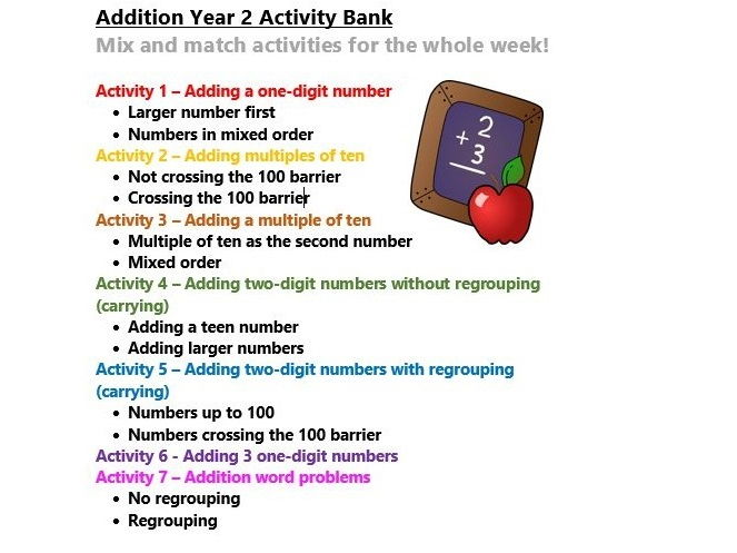 Addition Year 2 Activity Bank (Differentiated)
