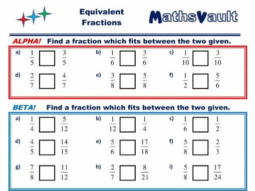 Tes equivalent fractions worksheet year 3