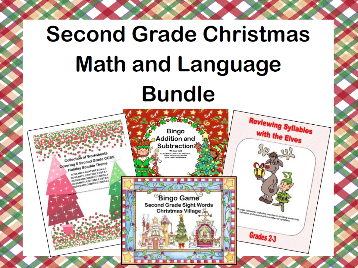 Christmas Math and Language Bundle for Second Grade