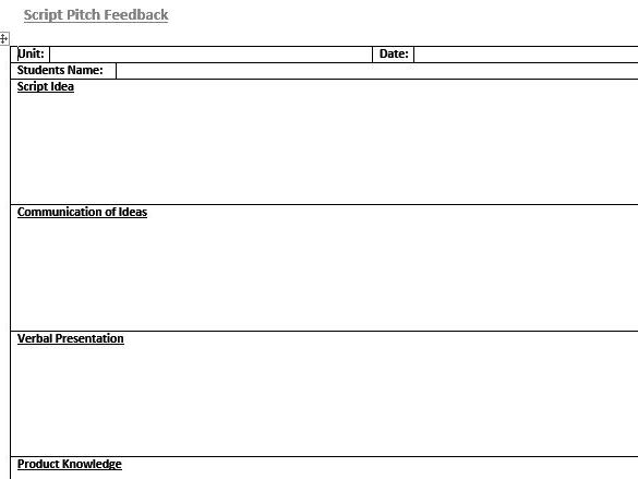 Presentation feedback film tv media students by for Student feedback form template word