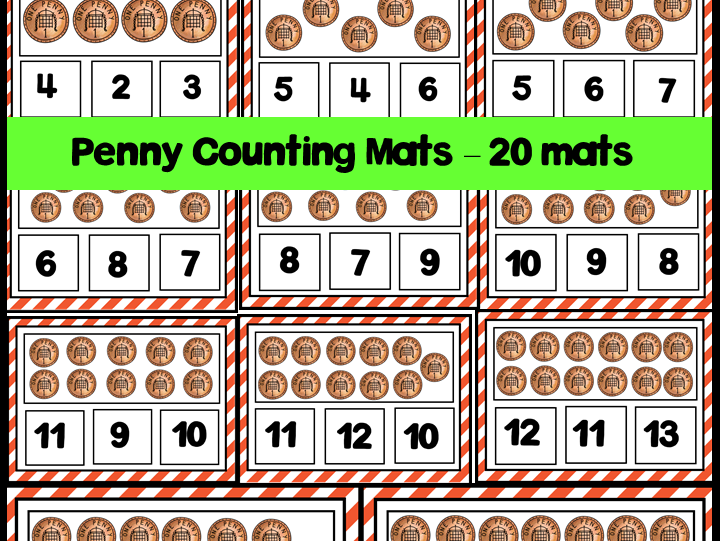 Penny Counting Mats 1-20