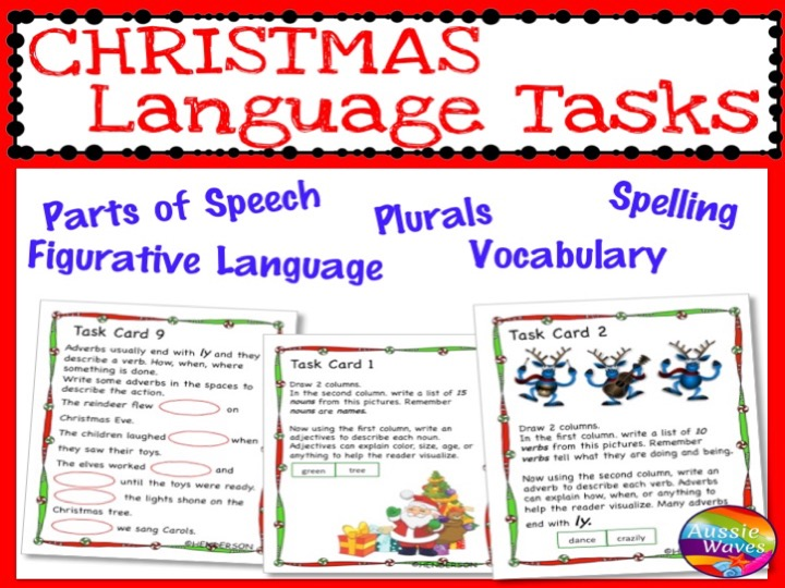 CHRISTMAS LANGUAGE ARTS SKILLS Task Cards including Activities on Plurals Nouns Punctuate SET 2