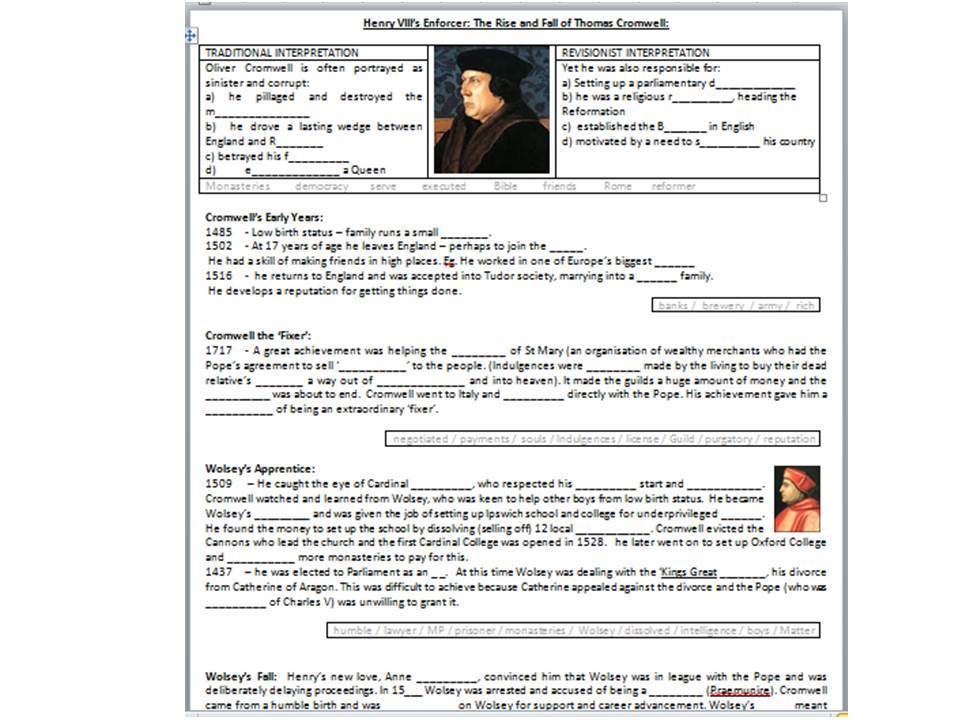 Henry VIII's Enforcer - The Rise and Fall of Thomas Cromwell - Supporting Worksheet for the BBC Doc