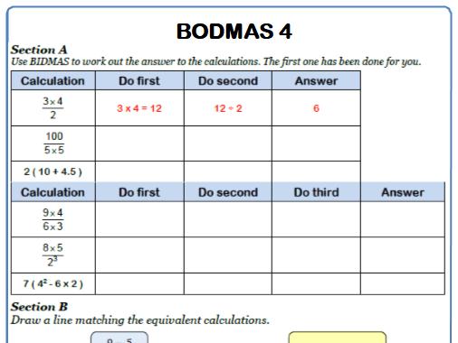 BODMAS Maths Worksheet 4