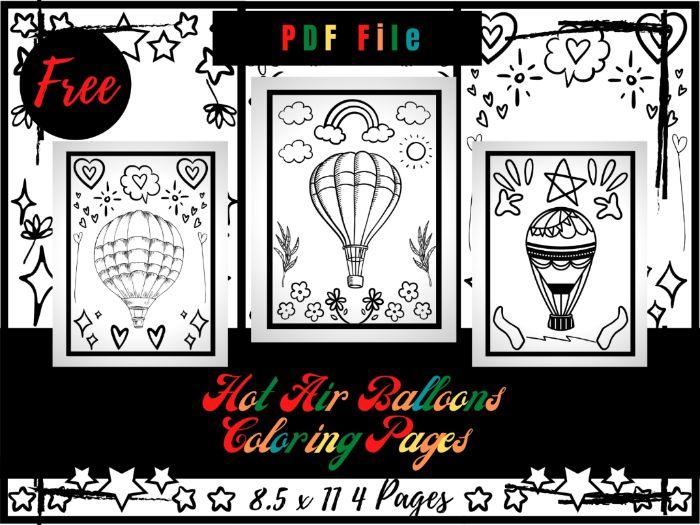 FREE Hot Air Ballons Colouring Pages, FREE Air Ballons Printable Colouring Sheets PDF