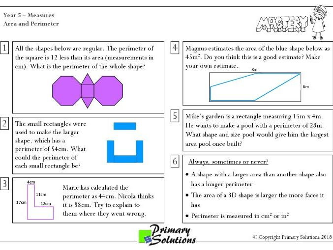Mastery Maths  - Year 5 Reasoning - Measures