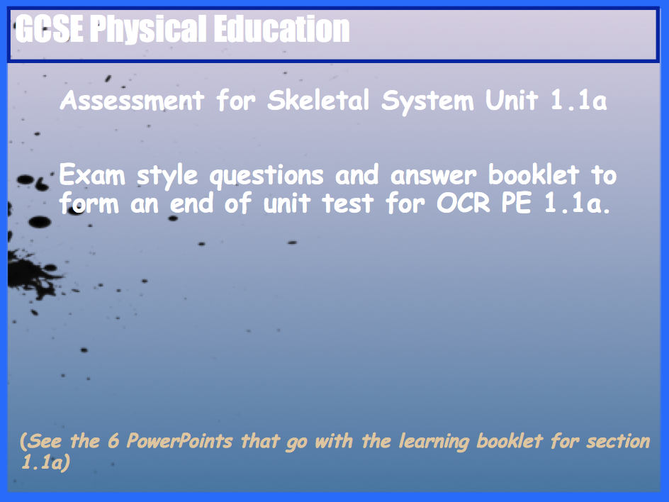 GCSE OCR PE Skeletal System (1.1a) End of Unit Test