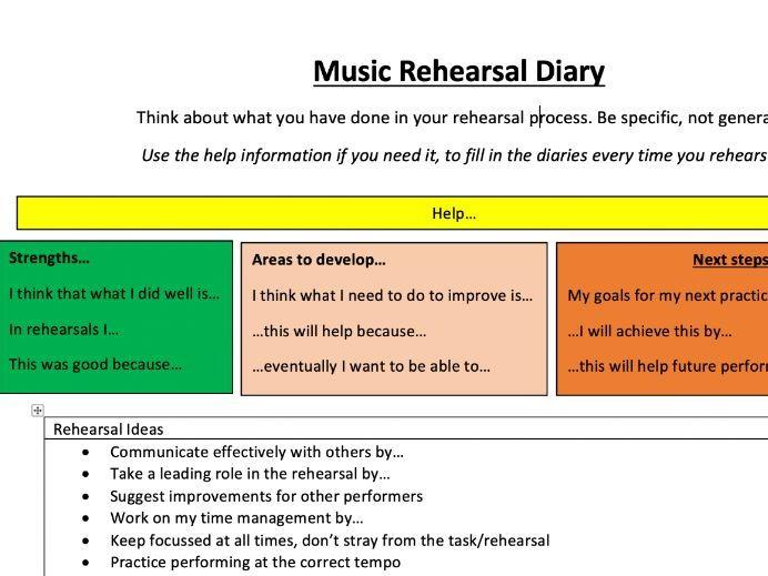 Music Rehearsal Diary