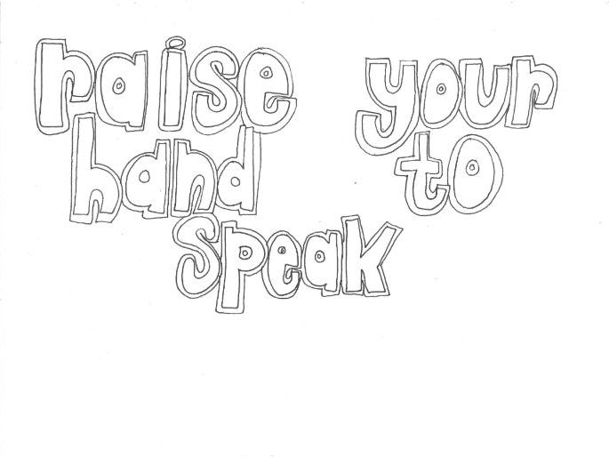 Raise Your Hand to Speak (Classroom Rules) Colouring Page