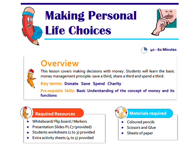 Making Personal Life Choices Lesson Plan for KS1