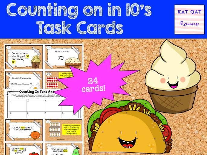 Counting on in 10s - Year 1 Task Cards