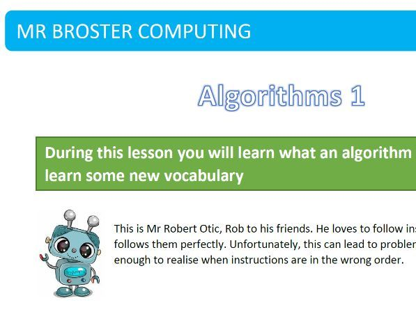Algorithms and Flowcharts (5 Lessons. Ideal for cover lessons or remote lessons)