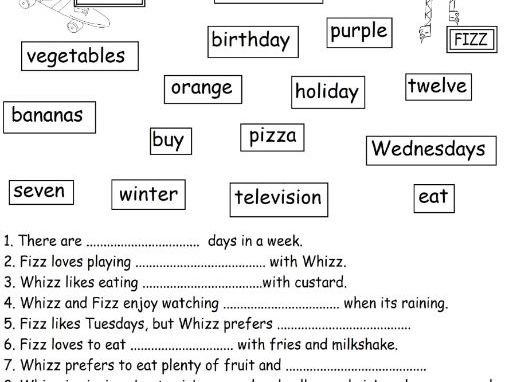 Fill in the spaces reading ks1