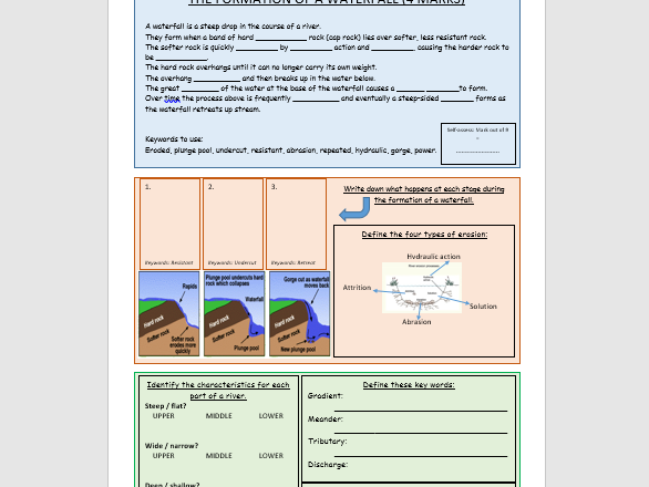 GCSE edecxel - Waterfalls exam question worksheet