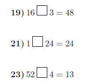 Missing operations: Multiplication and division worksheet (with solutions)